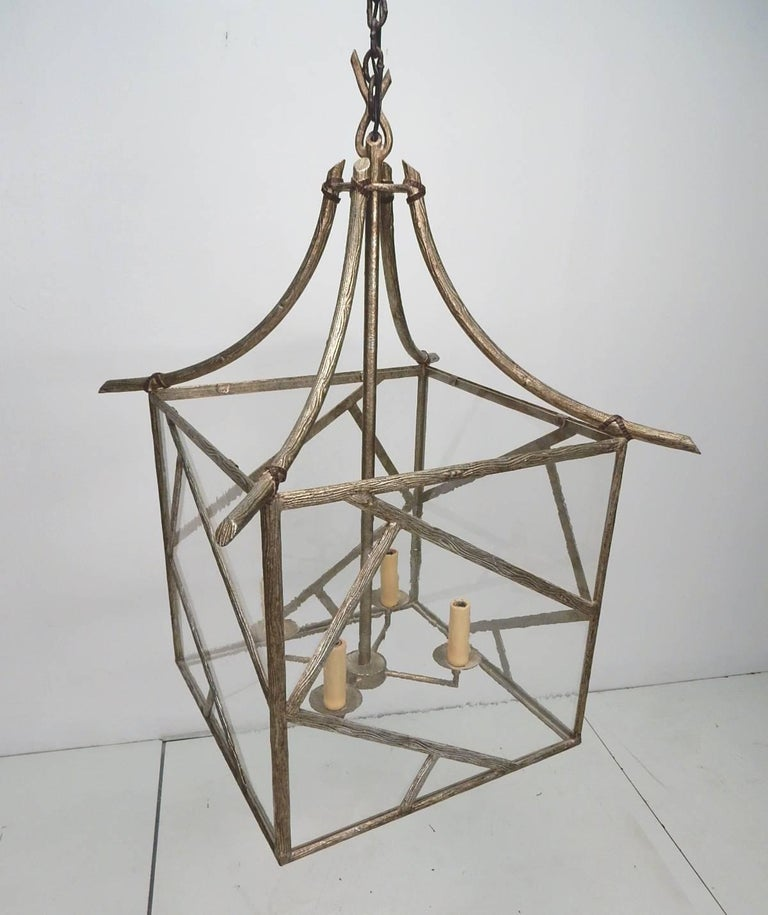 Faux Bois Brass Twig Pagoda Chandelier in the Les Lananne Style For Sale 2