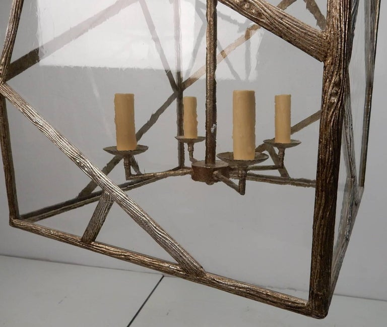 Faux Bois Brass Twig Pagoda Chandelier in the Les Lananne Style For Sale 3