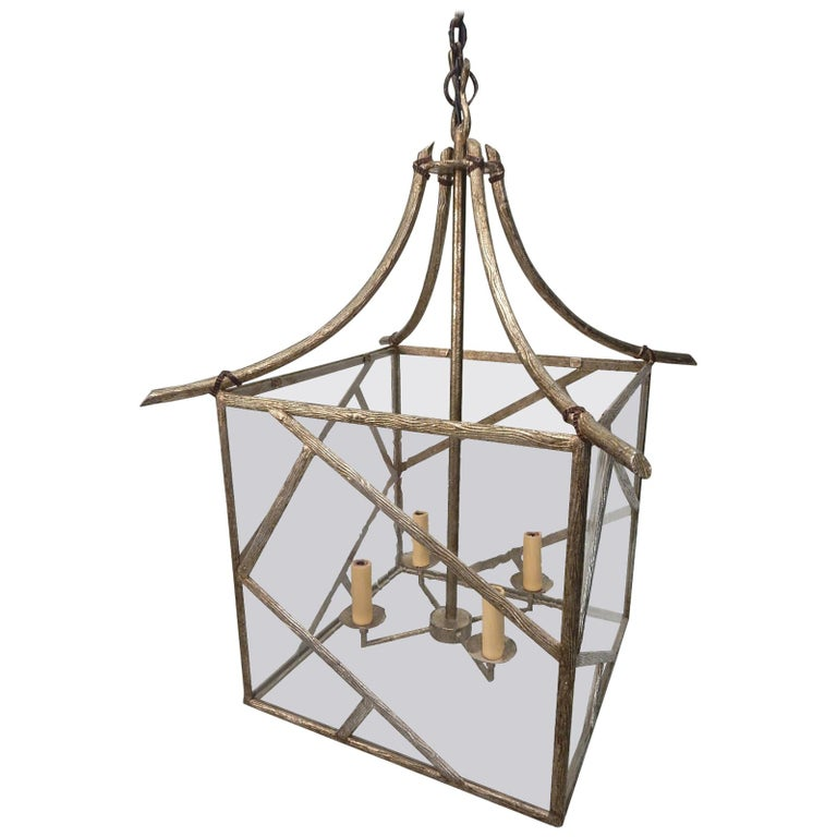 Faux Bois Brass Twig Pagoda Chandelier in the Les Lananne Style For Sale