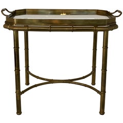Faux Bois Campaign Style Patinated Brass Tray Table, by Mastercraft