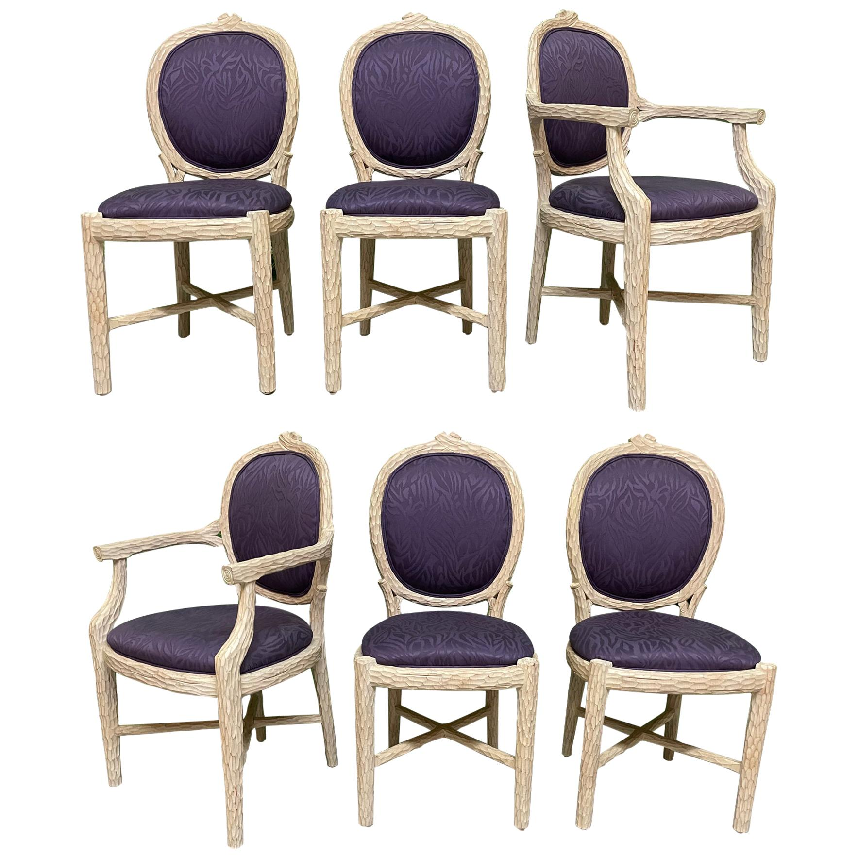 Faux Bois Carved Twig Dining Chairs, Set of 6