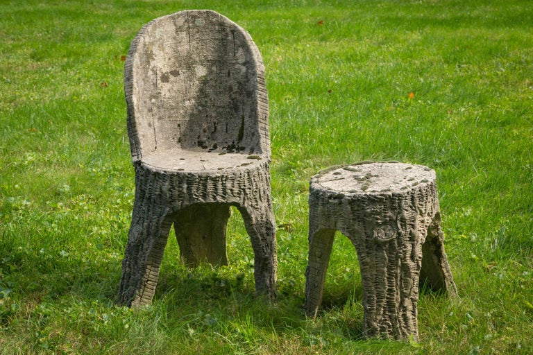 French faux bois chair and stool  Measures: Chair 32