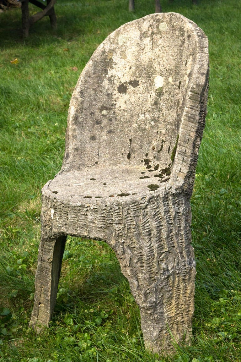 20th Century Faux Bois Chair and Stool For Sale
