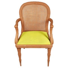 Faux Bois Chair with Cane Back and Green Upholstered Armchair