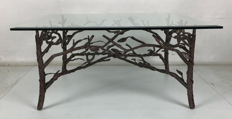 Organic Modern Faux Bois Coffee Table in the Style of Giacometti For Sale