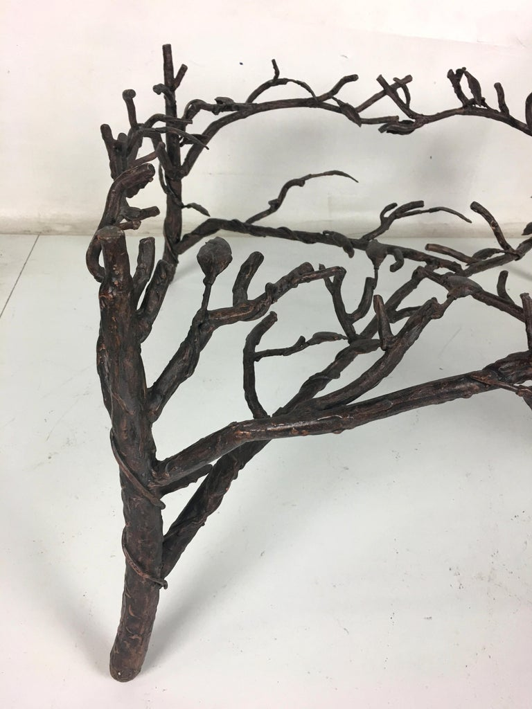 Metal Faux Bois Coffee Table in the Style of Giacometti For Sale