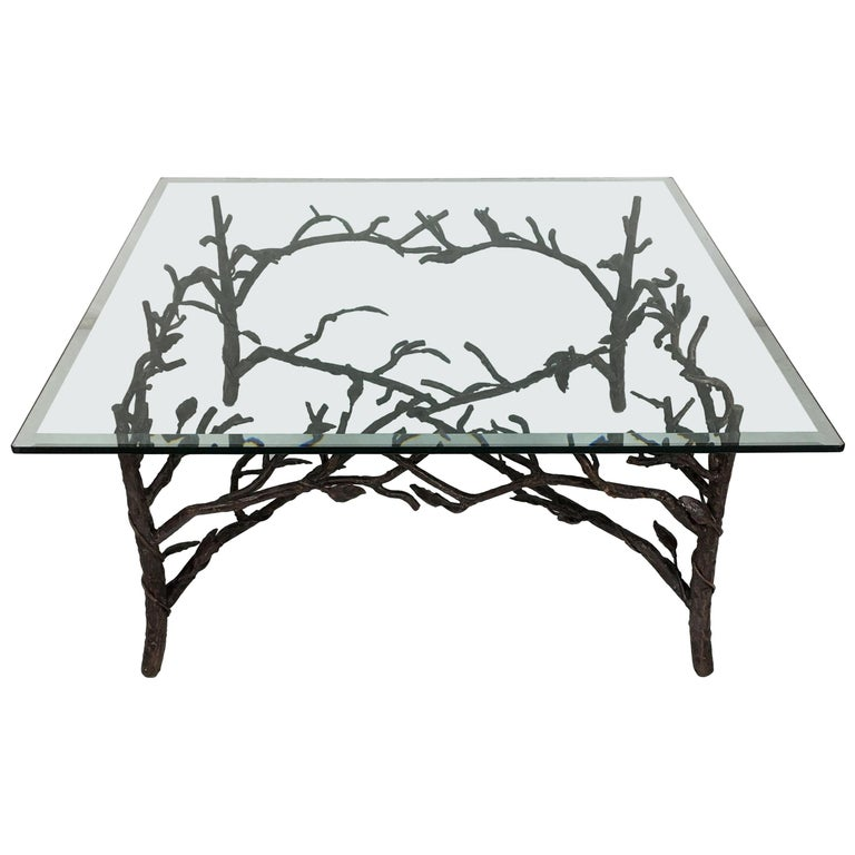 Faux Bois Coffee Table in the Style of Giacometti For Sale
