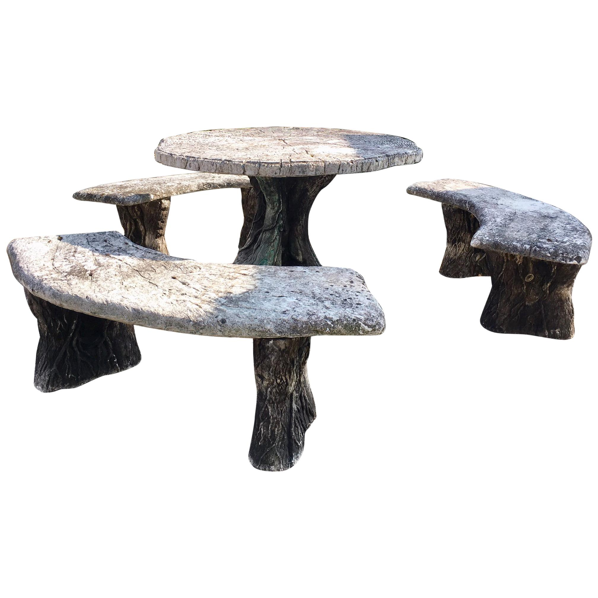 Faux Bois Fake Wood Garden Set Consisting Of A Table And Three Benches At 1stdibs