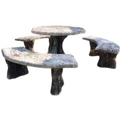 Faux Bois (Fake Wood) Garden Set Consisting of a Table and Three Benches