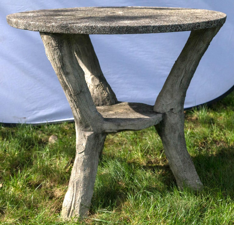 French Faux Bois Garden Bistro Table For Sale