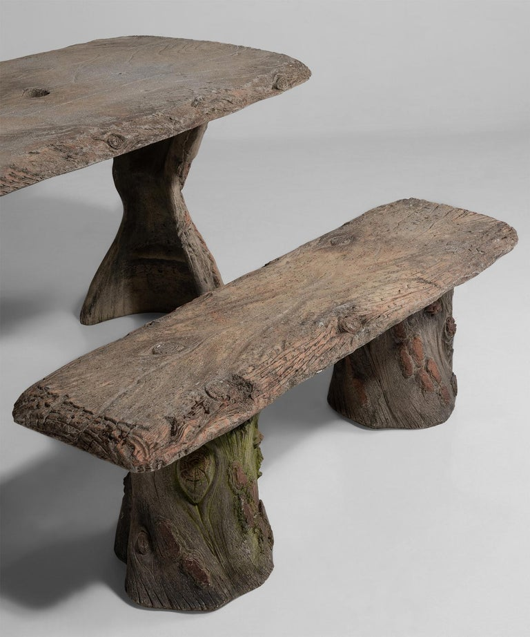 French Faux Bois Garden Table with Benches, France, 20th Century For Sale