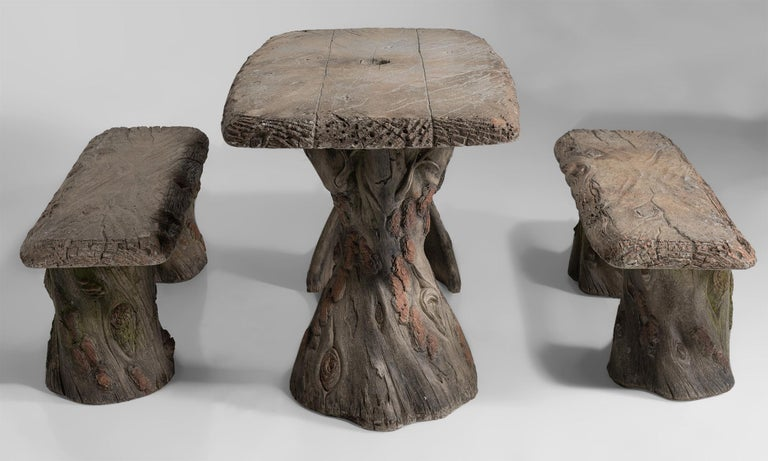 Faux Bois Garden Table with Benches, France, 20th Century For Sale 1