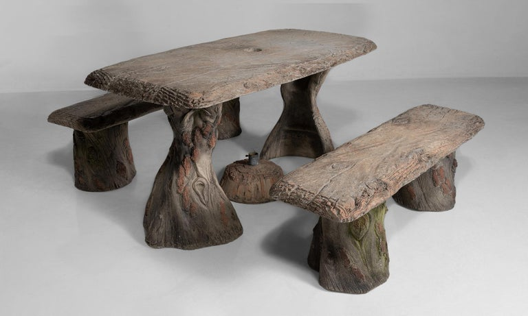 Faux Bois Garden Table with Benches, France, 20th Century For Sale 2