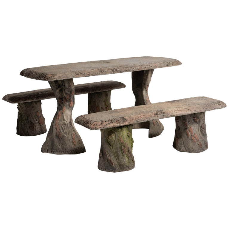 Faux Bois Garden Table with Benches, France, 20th Century For Sale