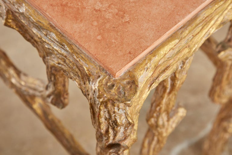 Faux Bois Gilt Gesso Console Table with Faux Marble Top For Sale 10