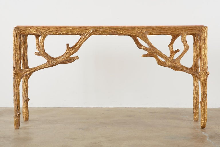 Faux Bois Gilt Gesso Console Table with Faux Marble Top In Distressed Condition For Sale In Oakland, CA