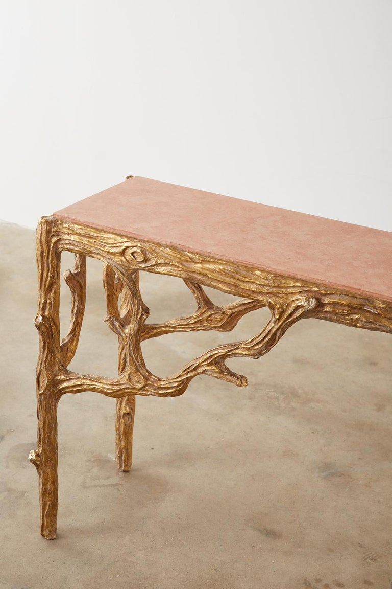 Faux Bois Gilt Gesso Console Table with Faux Marble Top For Sale 1