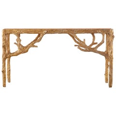 Faux Bois Gilt Gesso Console Table with Faux Marble Top
