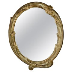 Faux Bois Oval Wall Tray or Table Mirror in Brown and Gold, circa 1940s