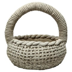 Faux Bois Planter Basket Cast-Stone Organic Modern Twist Handle Garden Sculpture
