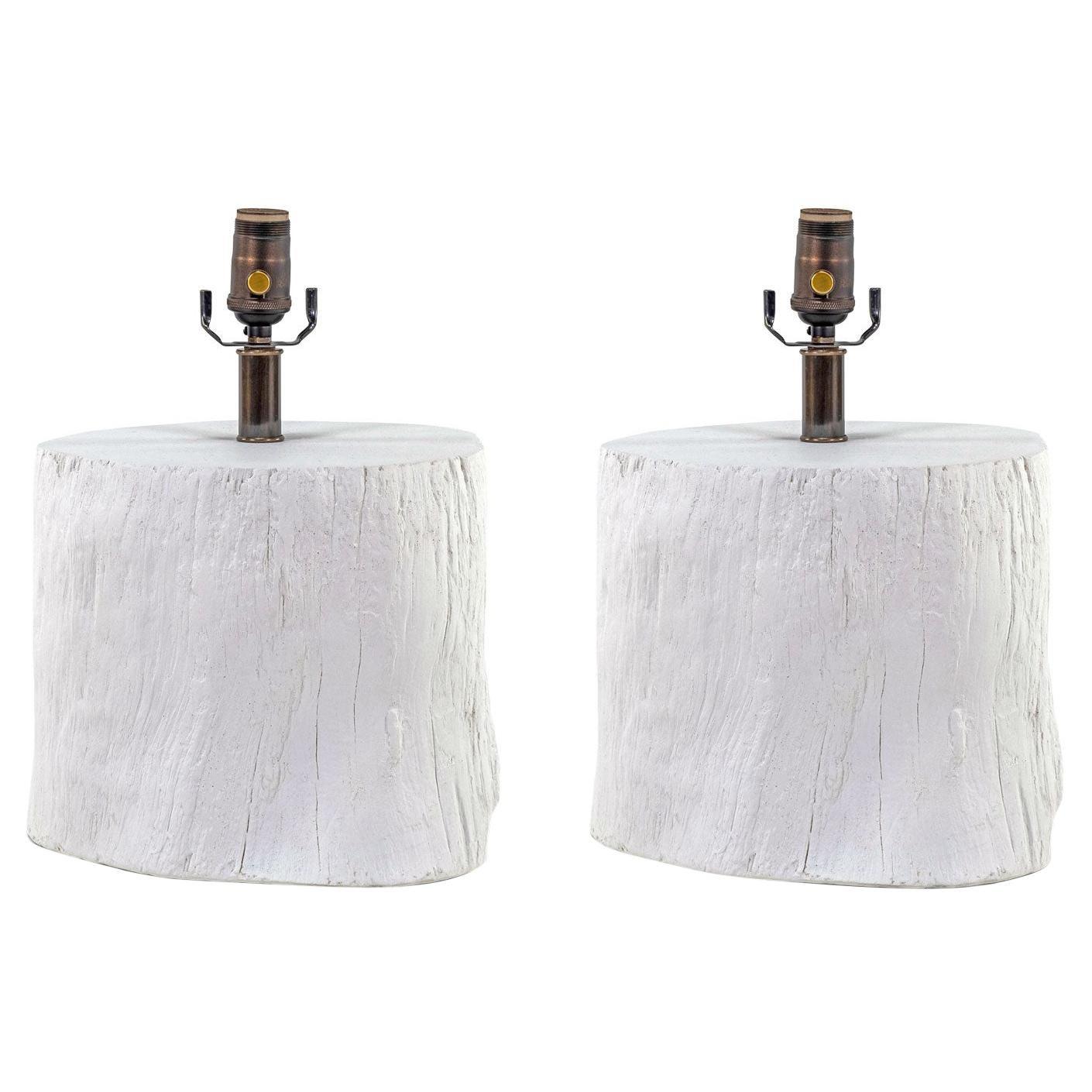 Faux Bois 'Tree Stump' White Plaster Lamp