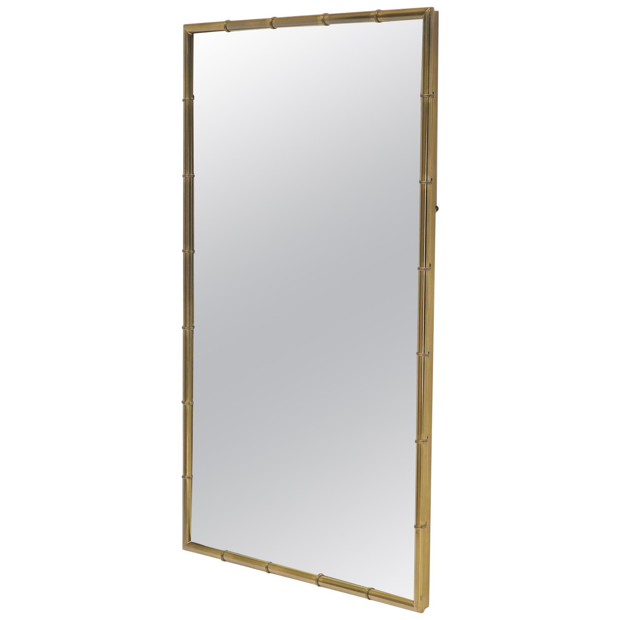 Faux Brass Bamboo Frame Rectangular Mirror