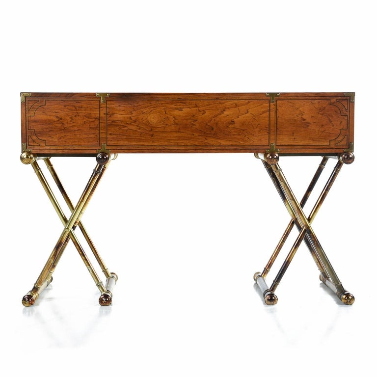 American Oxford Square by Drexel Faux Brass Base Campaign Style Tambour Roll Top Desk For Sale
