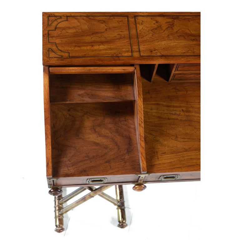 Oxford Square by Drexel Faux Brass Base Campaign Style Tambour Roll Top Desk In Good Condition For Sale In Saint Petersburg, FL