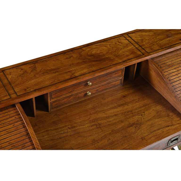 Oxford Square by Drexel Faux Brass Base Campaign Style Tambour Roll Top Desk For Sale 2