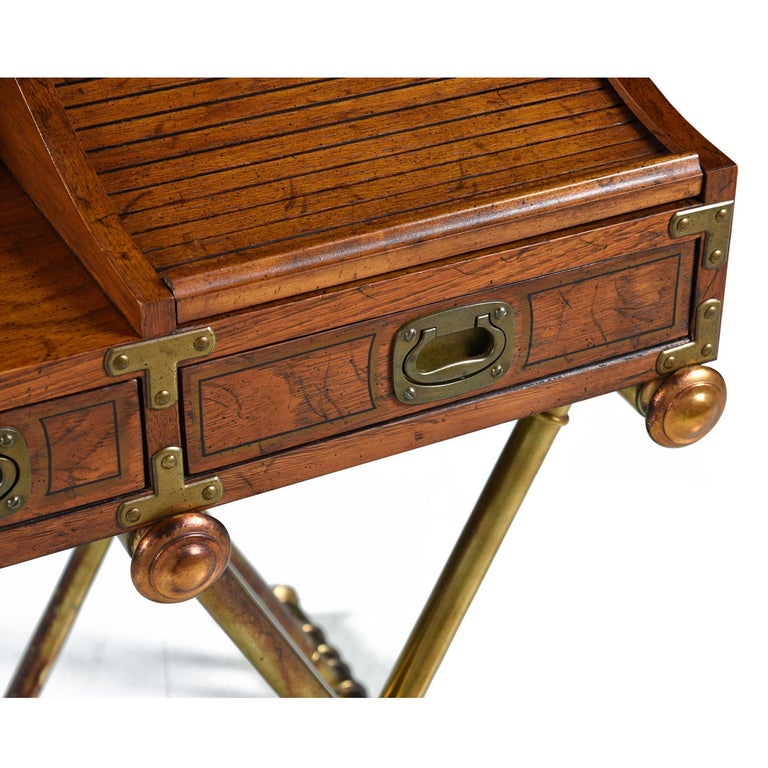 Oxford Square by Drexel Faux Brass Base Campaign Style Tambour Roll Top Desk For Sale 3
