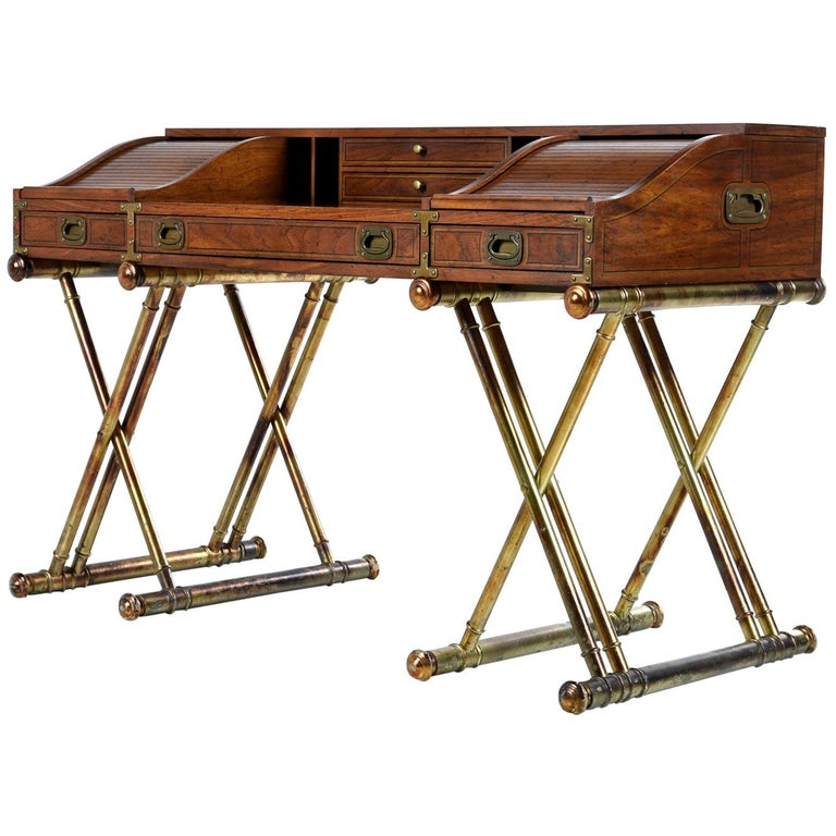 Faux Brass Base Campaign Style Tambour Roll Top Desk For Sale