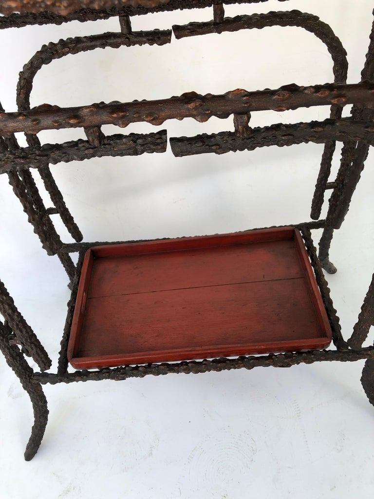 Painted Faux Burr Root Wood Stand with Lacquer Trays For Sale