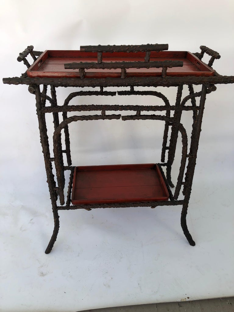 20th Century Faux Burr Root Wood Stand with Lacquer Trays For Sale