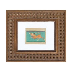Faux Cane Photo Frame with Hand Painted Indian Tiger and White Oversize Matte