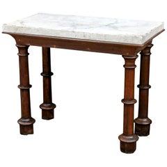Faux Carrara Marble-Top Oak Console