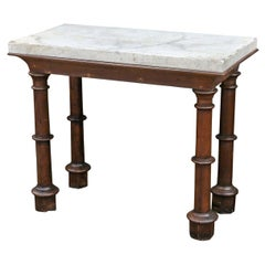 Faux Carrara Marble Top Oak Two-Sided Console