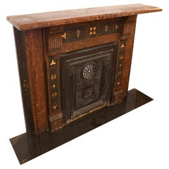 Faux Cast Iron Mantel with Slate Top and Summer Cover