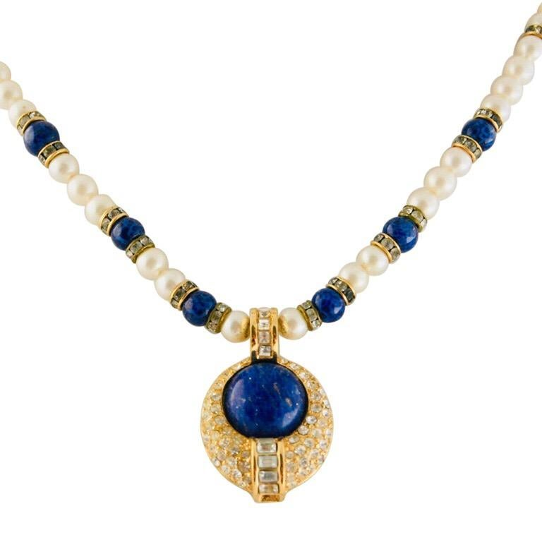 Empire Christian Dior Faux Lapis Pearl Diamond Gold Pendant Necklace and Earring Set For Sale