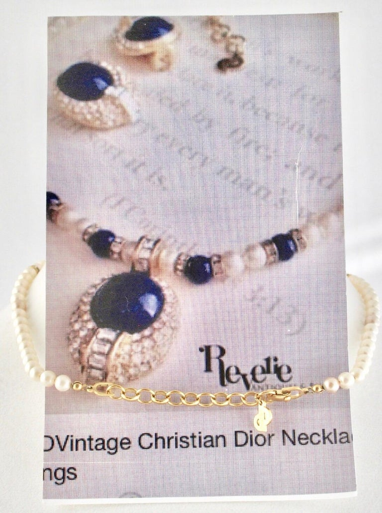 Christian Dior Faux Lapis Pearl Diamond Gold Pendant Necklace and Earring Set For Sale 2