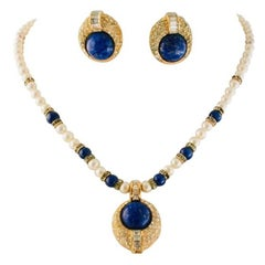 Christian Dior Faux Lapis Pearl Diamond Gold Pendant Necklace and Earring Set