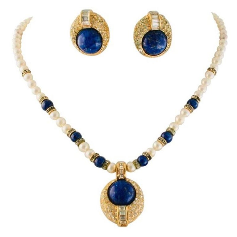 Christian Dior Faux Lapis Pearl Diamond Gold Pendant Necklace and Earring Set For Sale
