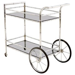 Faux Chrome Bamboo Smoked Glass Two-Tier Rolling Cart Server