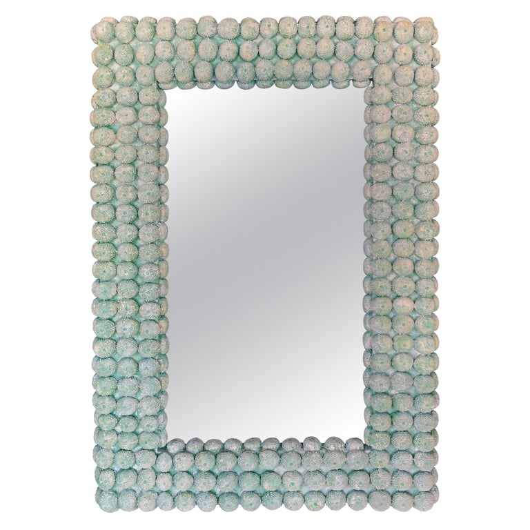 Faux Coral Mirror in Green For Sale
