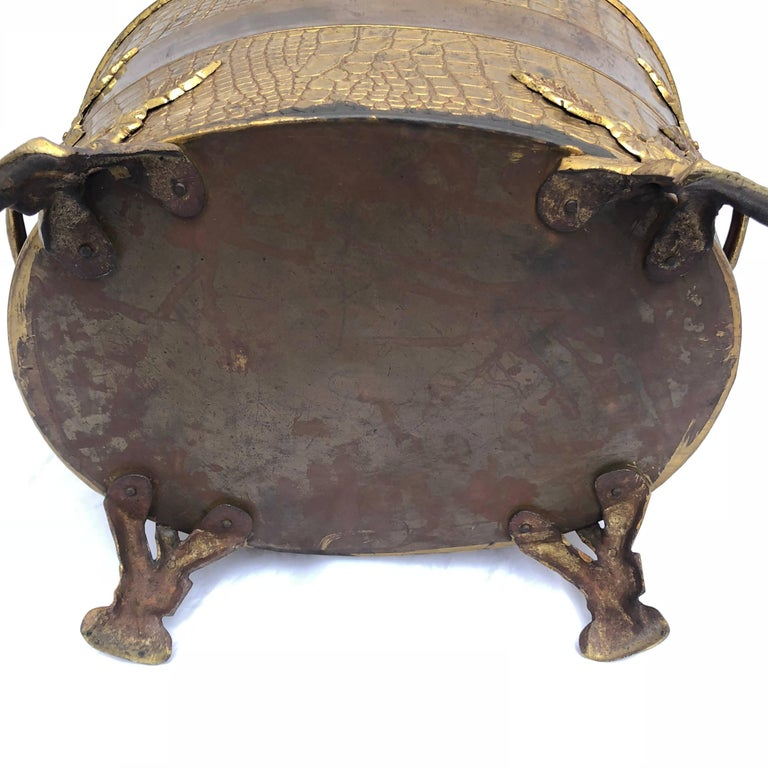 Faux Crocodile Pattern Copper and Brass Coal or Firewood Log Container For Sale 7