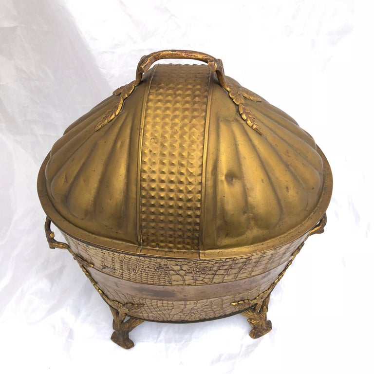 Faux Crocodile Pattern Copper and Brass Coal or Firewood Log Container For Sale 9