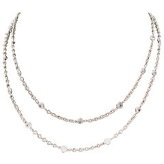 Simulated Diamond by the Yard Sterling Silver Long Necklace 36""
