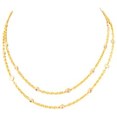 Simulated Diamond by the Yard Long Vermeil Necklace 36""