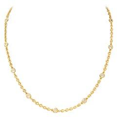 Simulated Diamond by the Yard Vermeil Necklace 18""