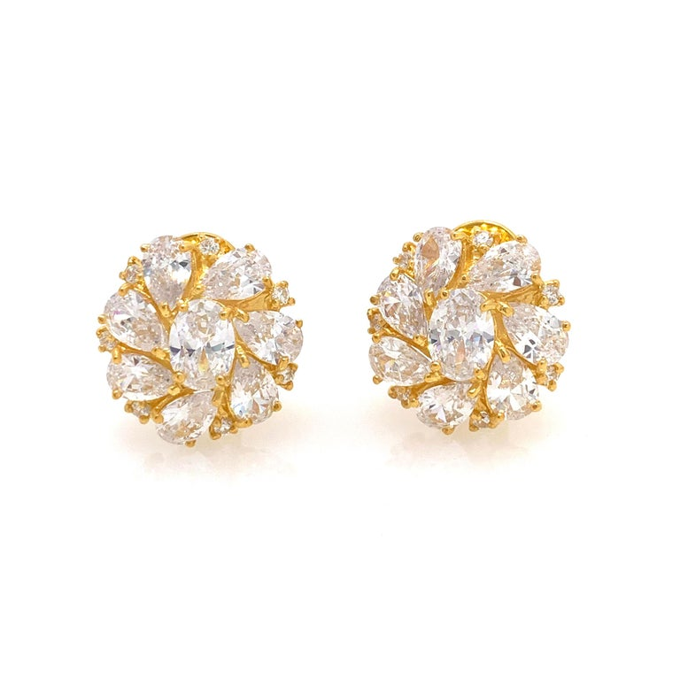 Stunning  Faux Diamond Cluster Vermeil Earrings.   These estate-style earrings feature 30 pieces of beautiful AAA quality faux diamond cz in various shape, handset in 18k gold vermeil over sterling silver.  Straight post with omega clip backing. The