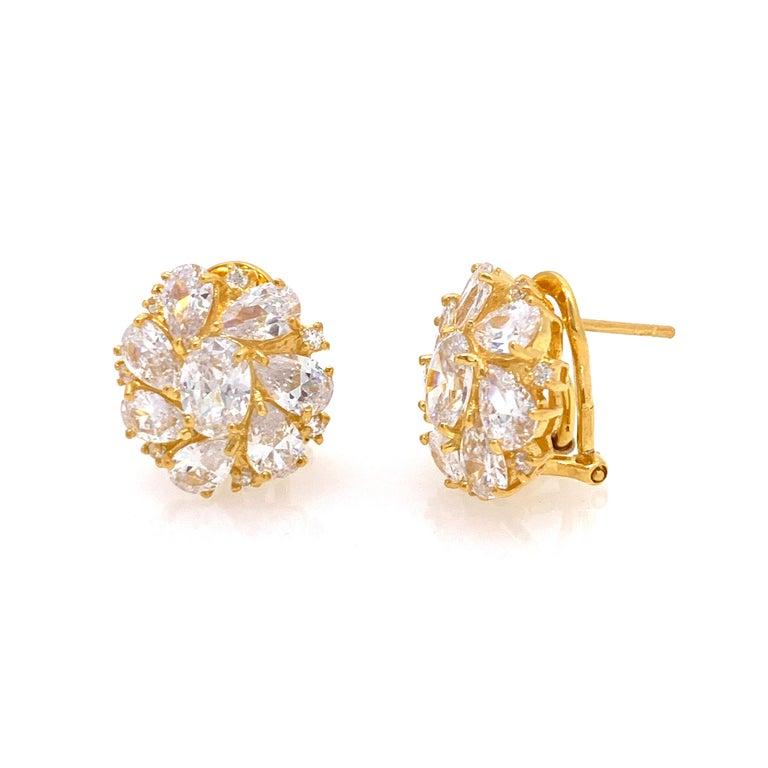 Contemporary Faux Diamond Cluster Vermeil Earrings For Sale